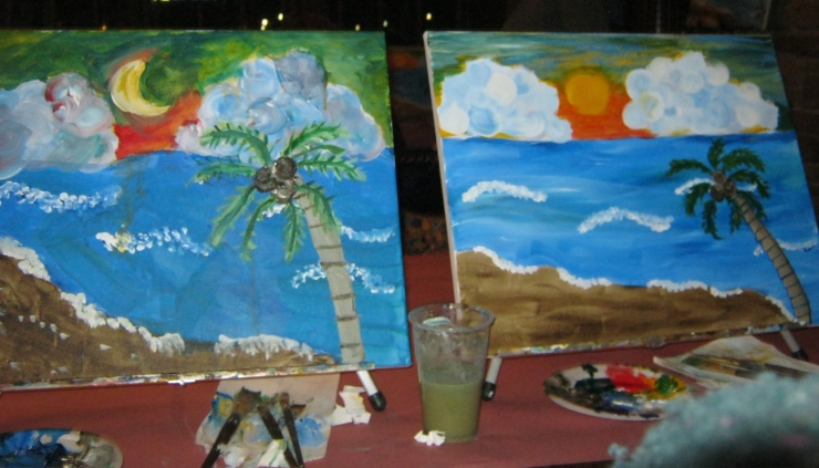 My mom & I took a step outside our comfort zones and took a painting class together - here are our creations!